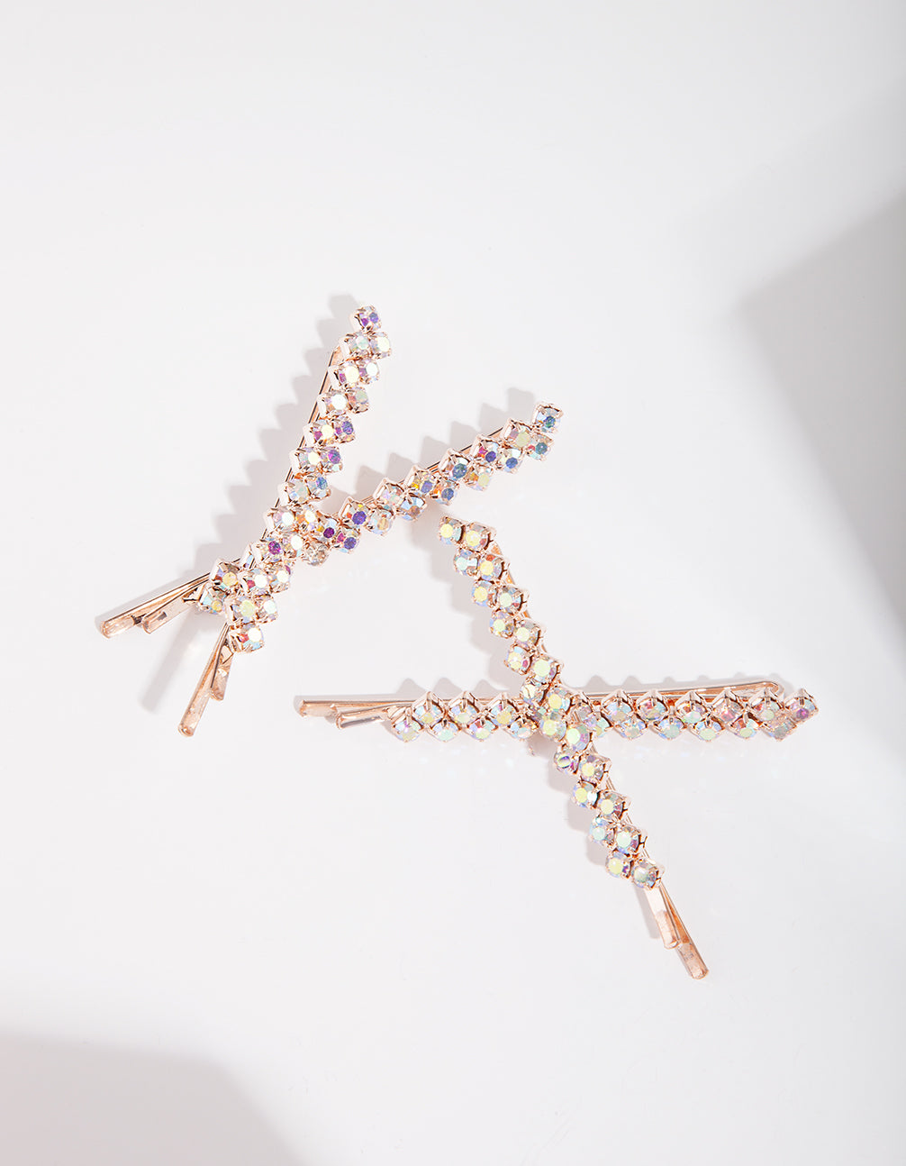 Rose Gold Diamante Reflective Pins