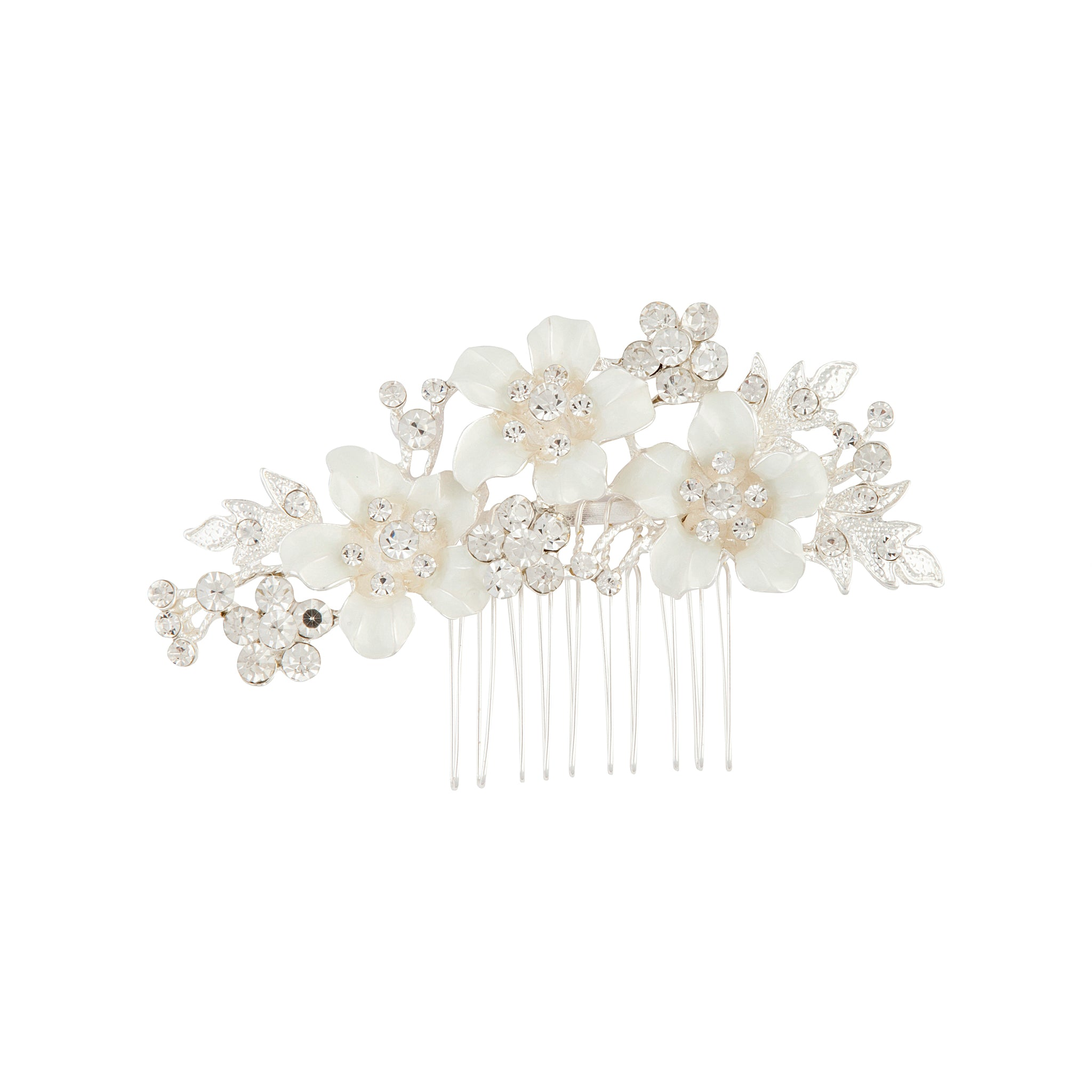 Silver Flower and Crystal Comb