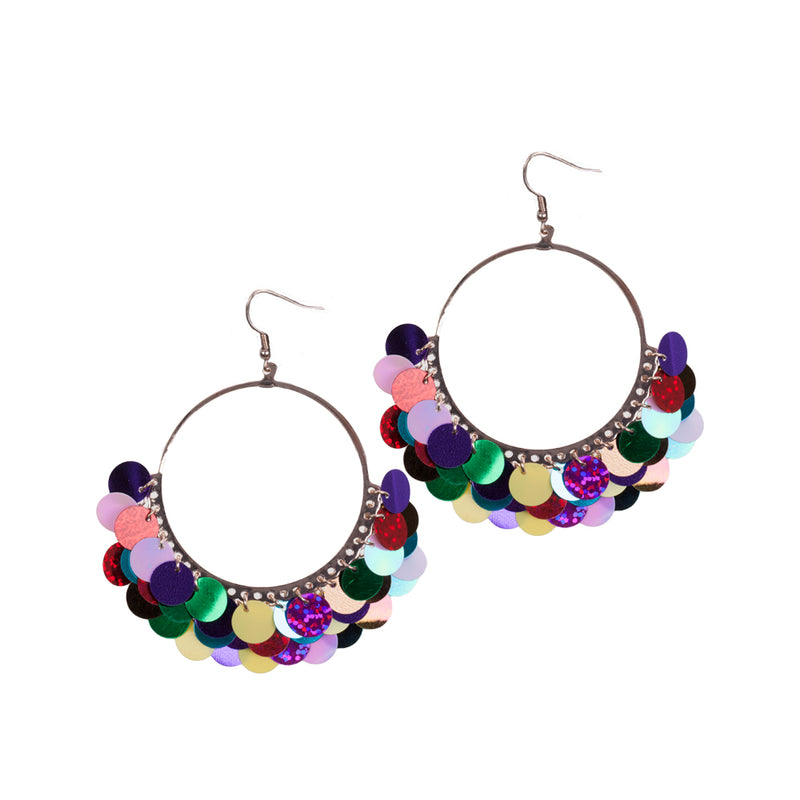 Mixed Brights Sequin Hoop Earring