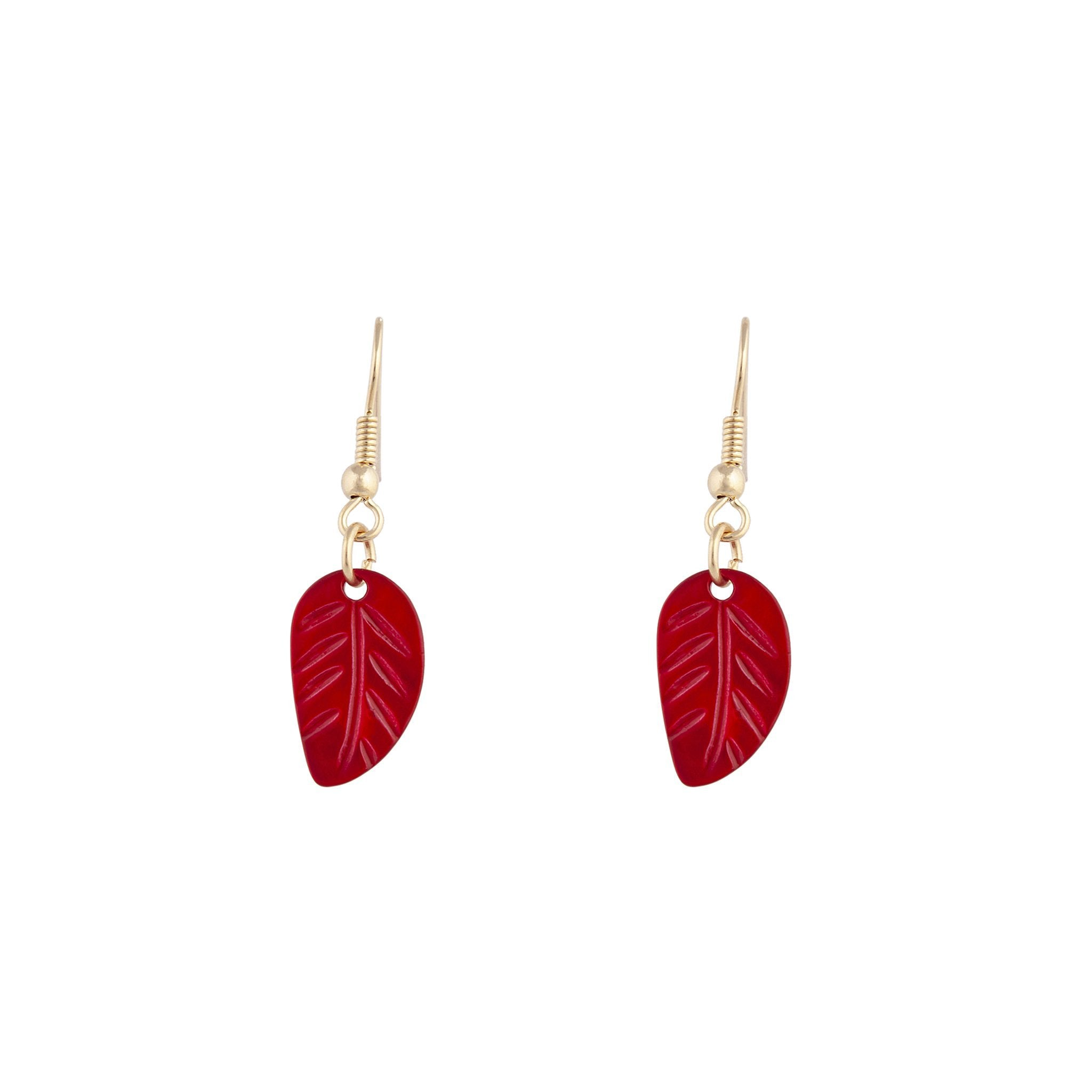Red Gold Etched Lead Drop Earring