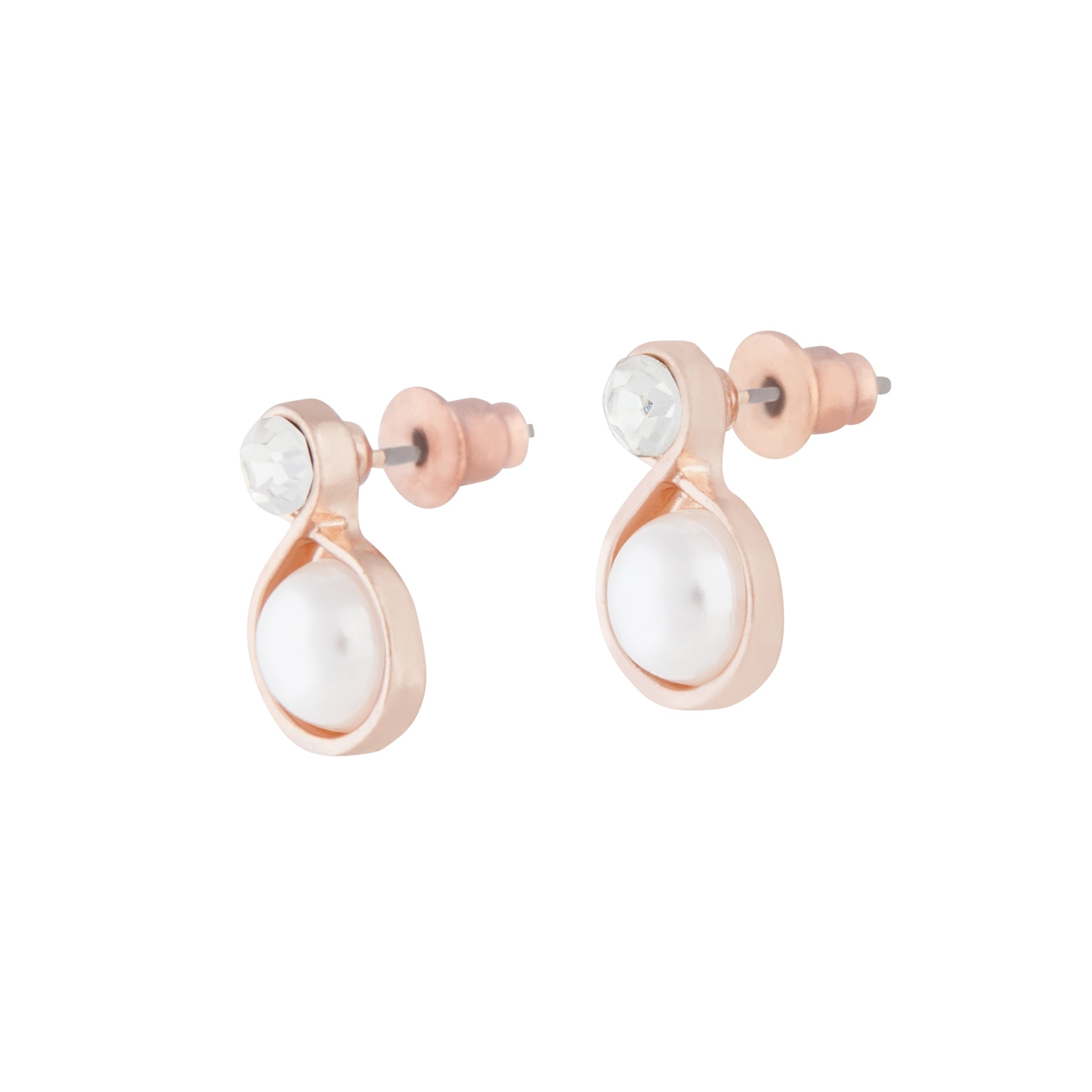 Rose Gold Pearl Bottom Stud Earring