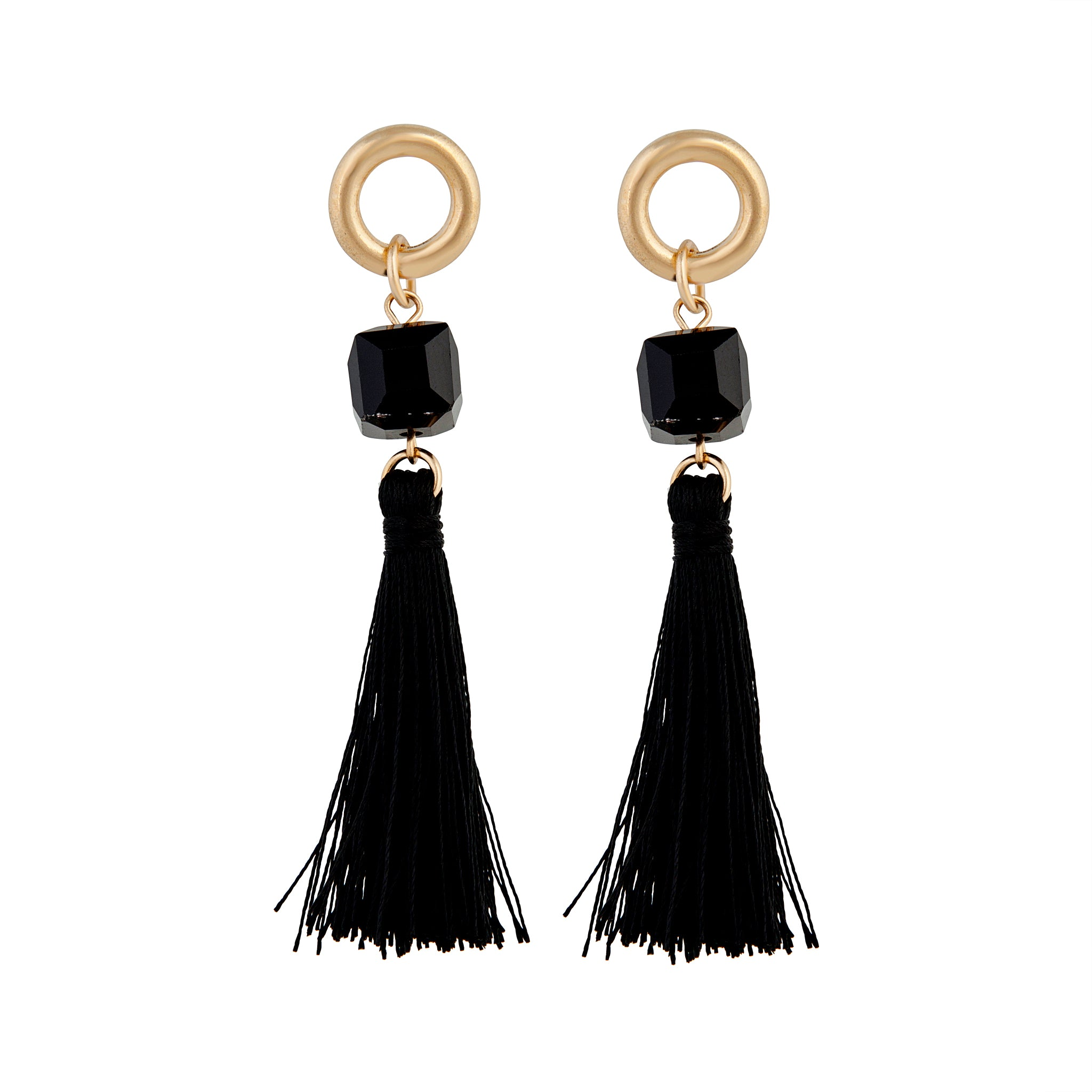 Gold Black Cube Bead Tassel Drop Earring