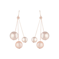 Rose Gold 3 Ball Stick Drop Earring - link has visual effect only