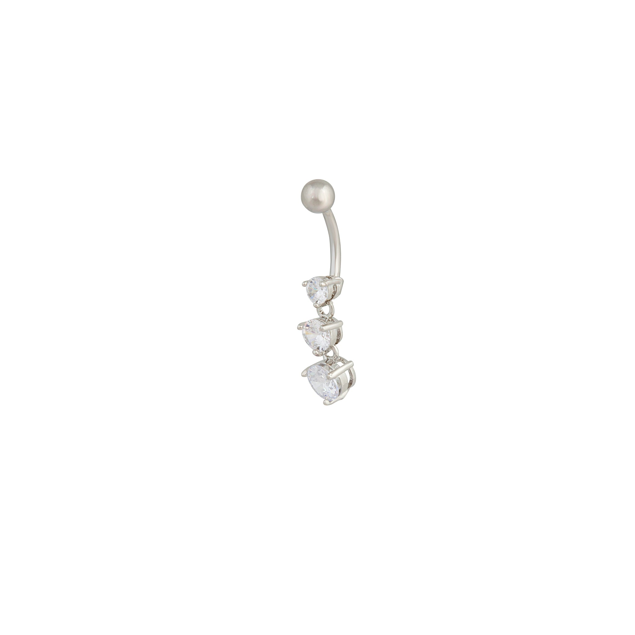 Rhodium Gradual Diamante Trio Drop Belly Bar
