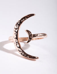 Rose Gold Crescent Moon Open Ring - link has visual effect only
