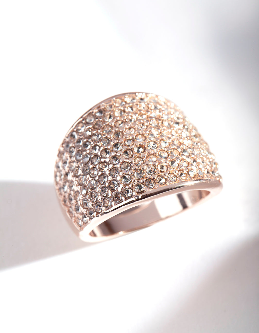 Rose Gold Pave Diamante Dome ring