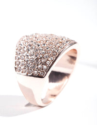 Rose Gold Pave Diamante Dome ring - link has visual effect only