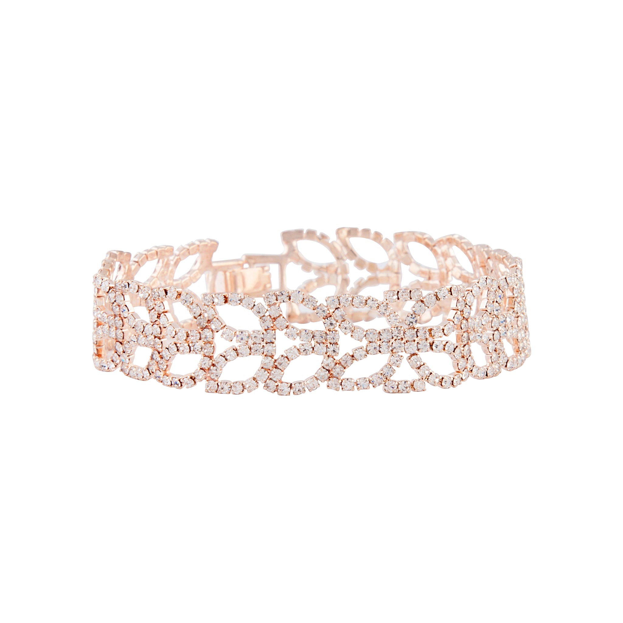 Rose Gold Diamante Petal Bracelet