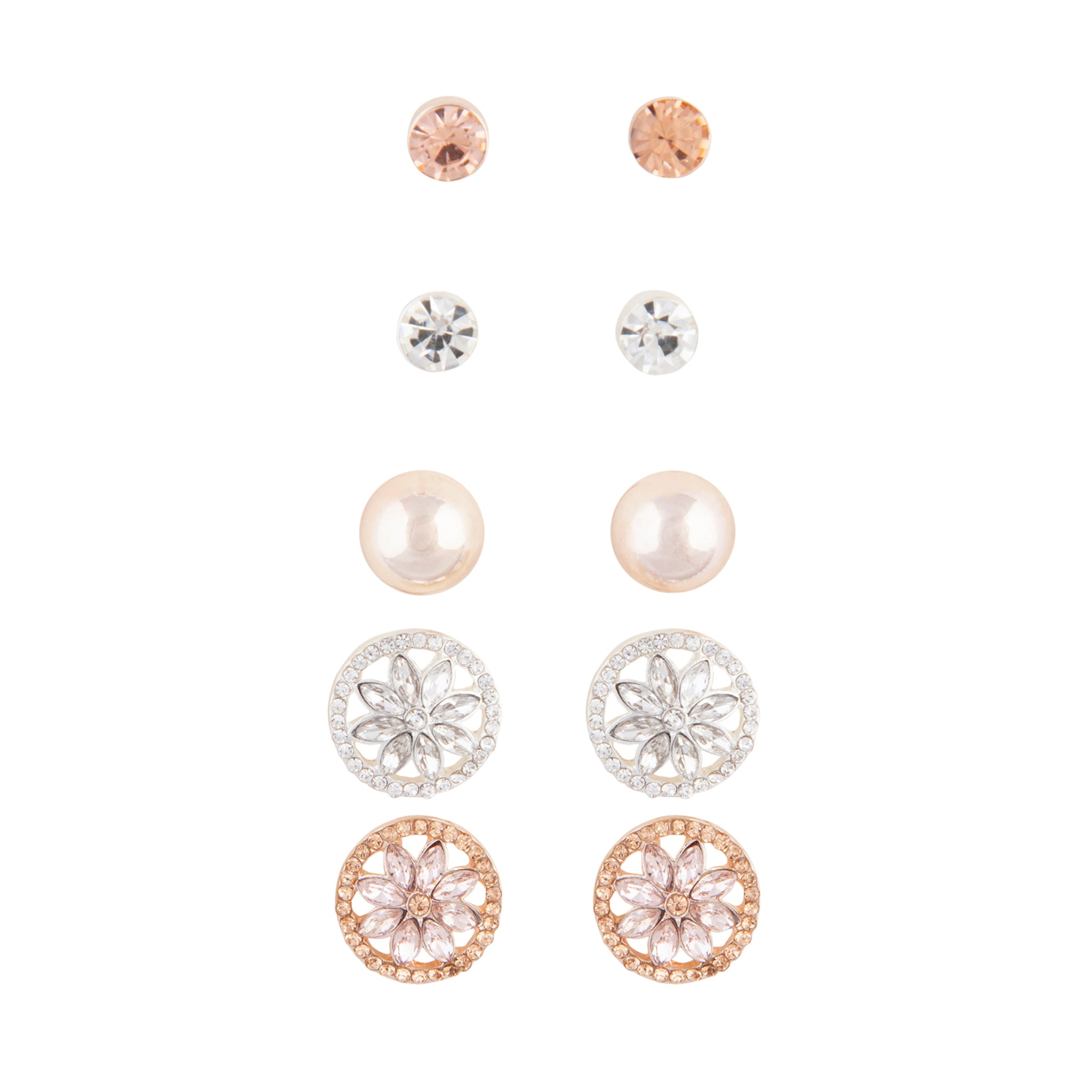 Rose Gold Decorative Diamante 5 Pack Clip On Earrings