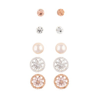 Rose Gold Decorative Diamante 5 Pack Clip On Earrings - link has visual effect only