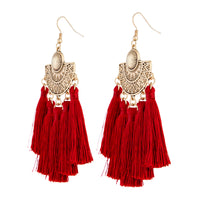 Burgundy Antique Gold Etched Tassel Earrings - link has visual effect only