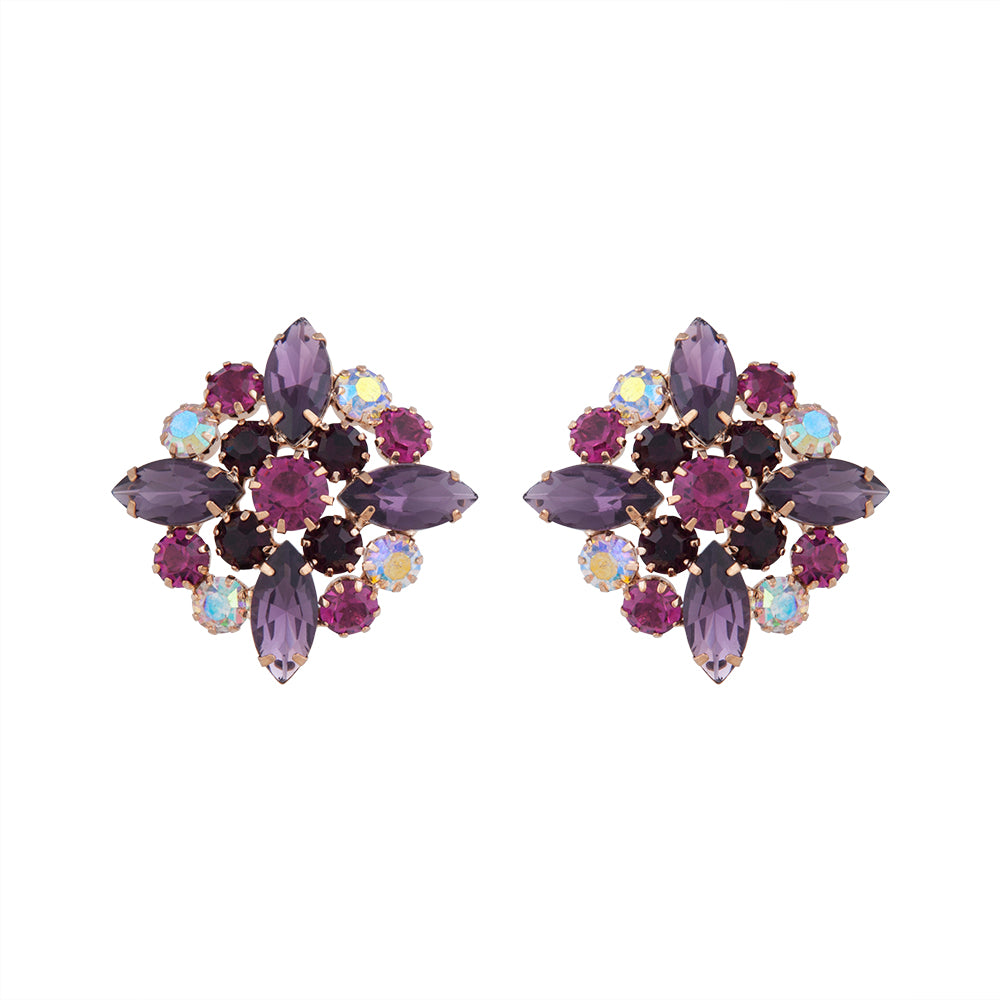 Mixed Purple Vintage Marquise Cluster Stud