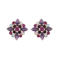 Mixed Purple Vintage Marquise Cluster Stud - link has visual effect only