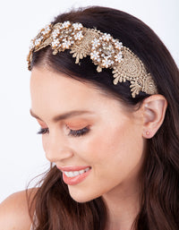Gold Floral Fabric Pearl Headband - link has visual effect only