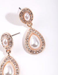 Rose Gold Mini Diamante & Pearl Double Teardrop Earring - link has visual effect only