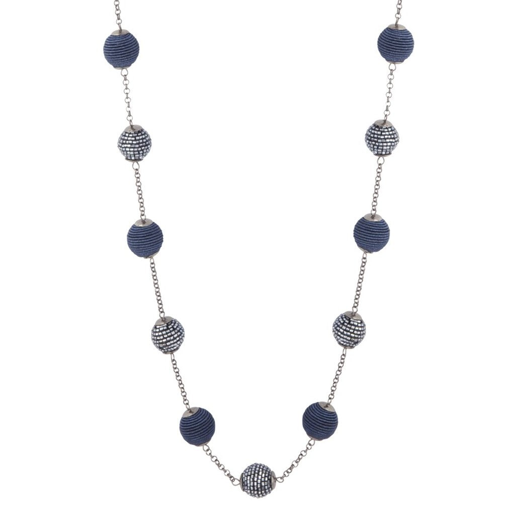 Navy Gunmetal Wrapped Bead Station Necklace