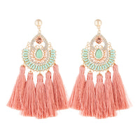 Gold Pink Pretty Diamante Tassel Earring - link has visual effect only