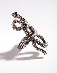 Silver Snake Diamante Stretch Ring - link has visual effect only
