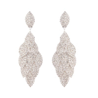 Silver Diamante Multi-Leaf Drop Earring