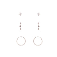 Sterling Silver Texture Star Stud Hoop Earring Pack - link has visual effect only