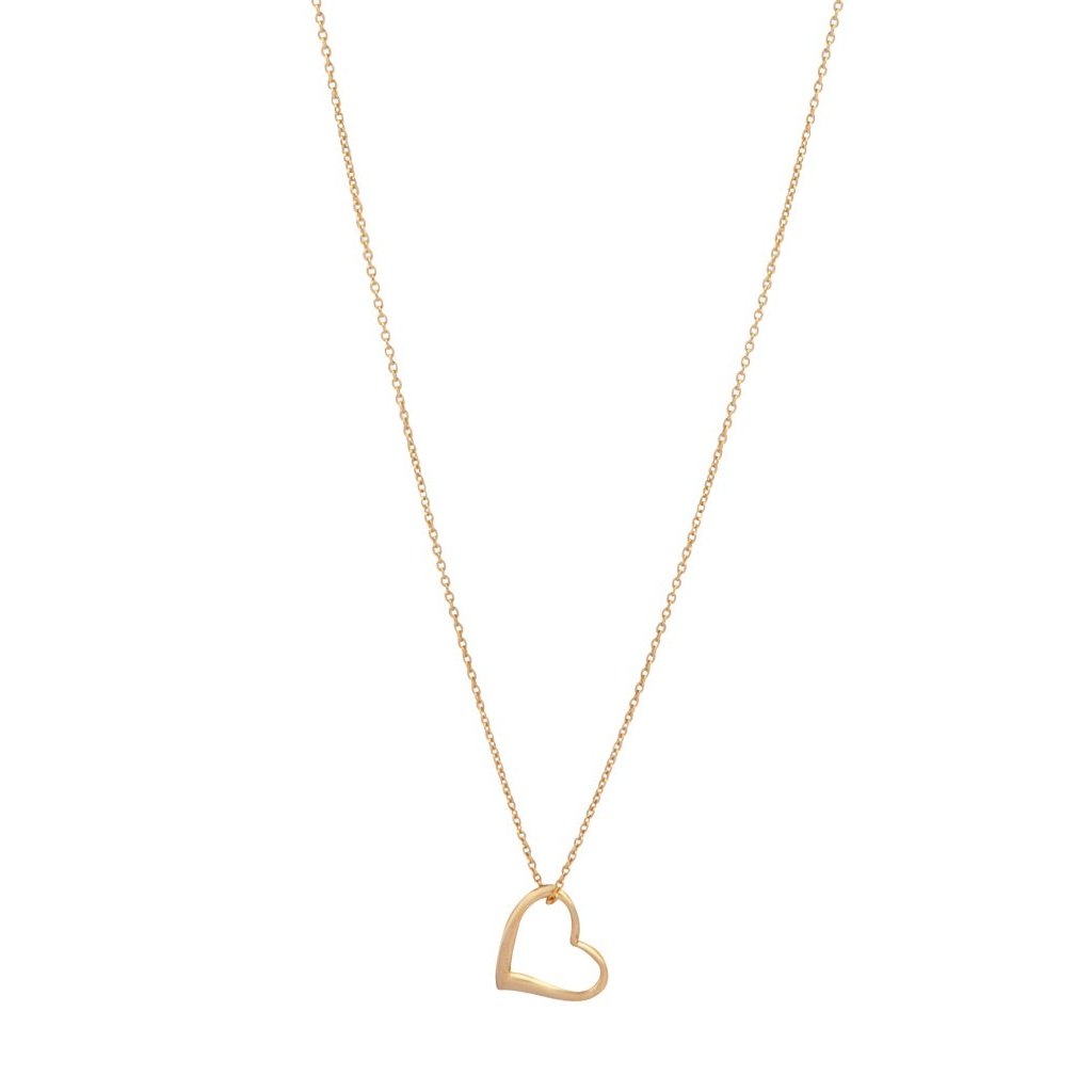 Gold Plated 925 SS Heart Charm Necklace