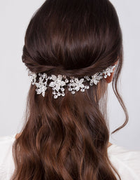 Diamante Multi Flower Drape Hair Piece