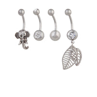 Rhodium Leaf Elephant Belly Bar 4 Pack - link has visual effect only
