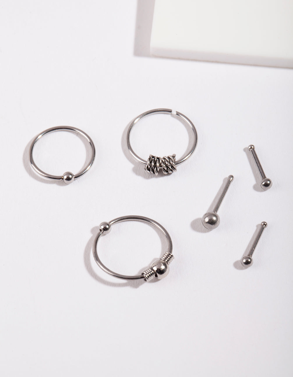 Rhodium Surgical Steel Ring & Bead Nose Pack