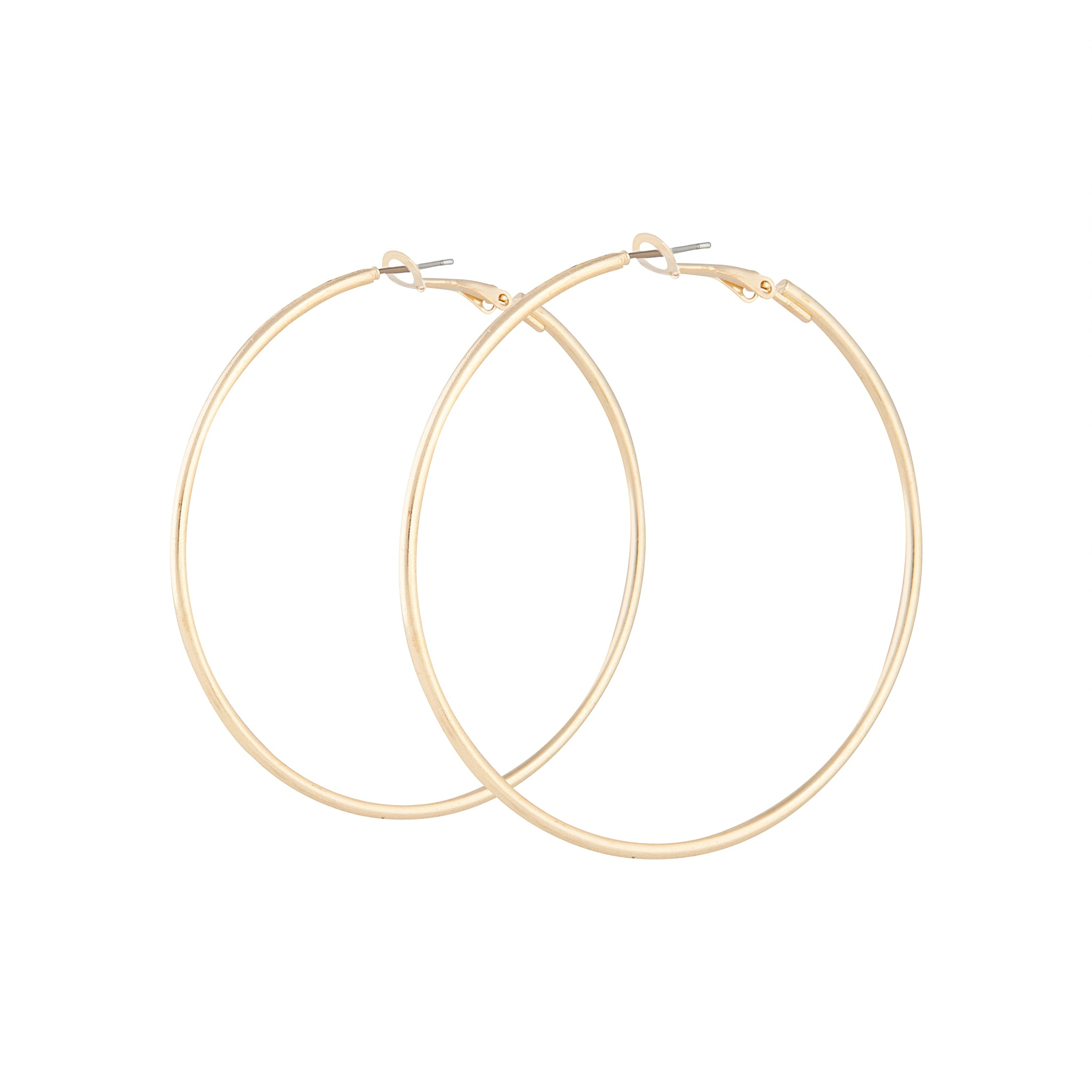Gold Plain Tube Hoop Earrings