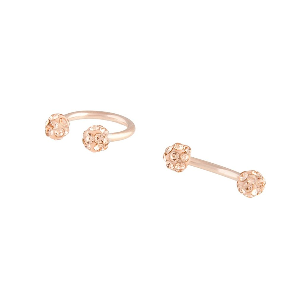 Rose Gold Pave Barbell Horseshoe Earring 2 Pack