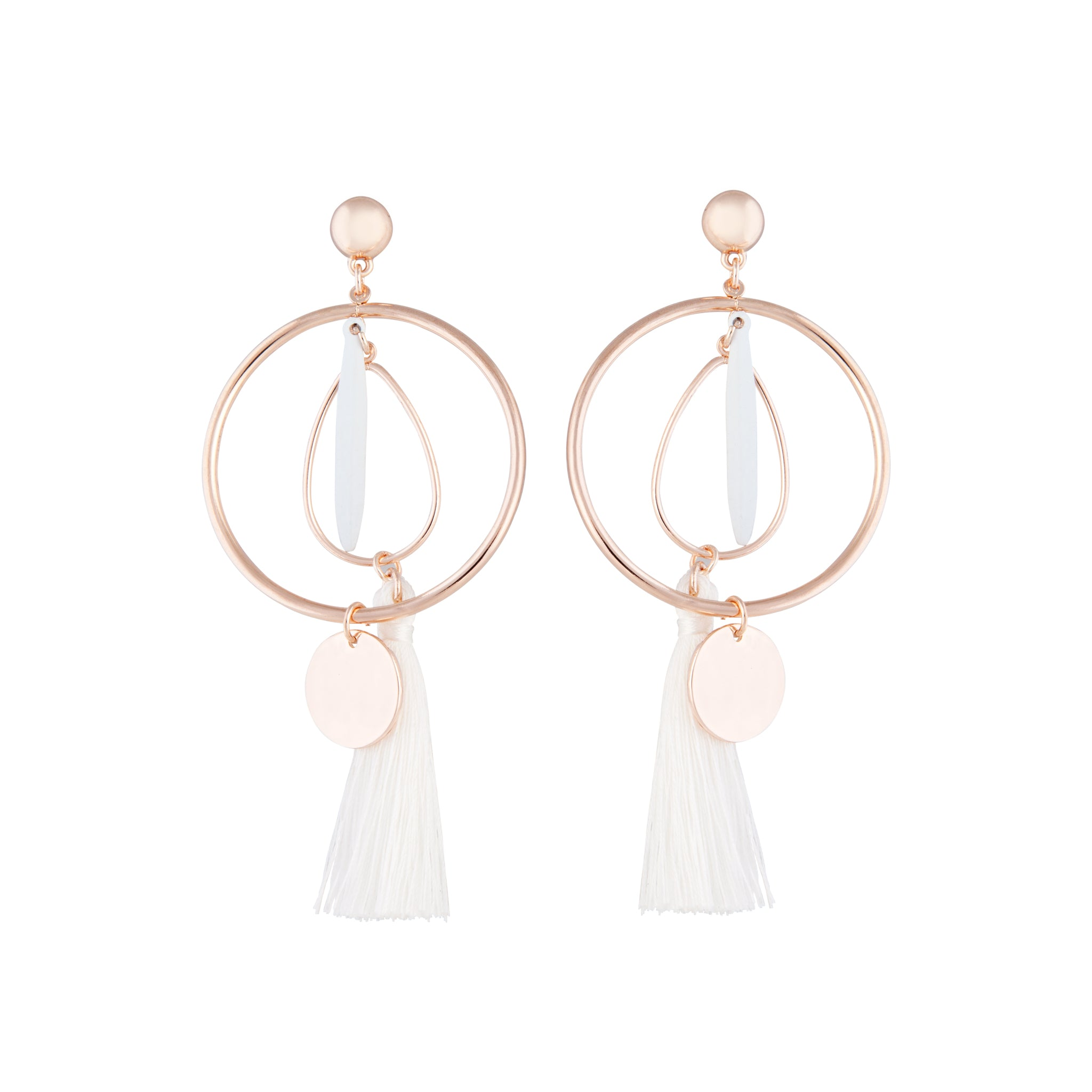 White Rose Gold Feature Hoop Tassel Earring