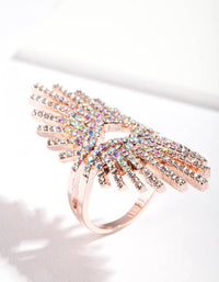 Rose Gold Statemnet Spray Diamante Ring - link has visual effect only