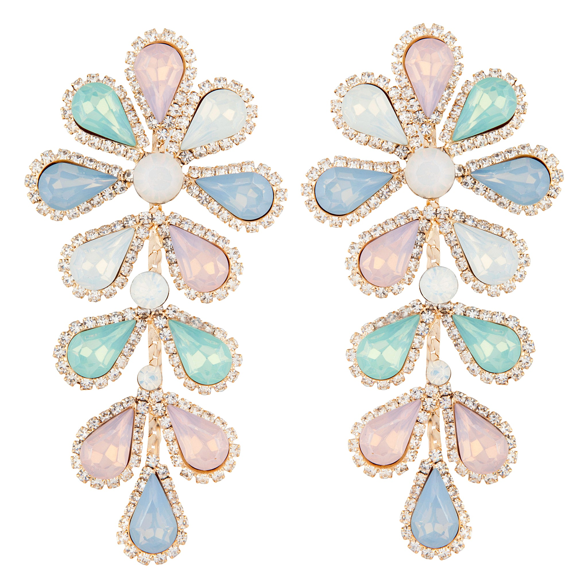 Pastel Teardrop Flower Multi-Stone Earring