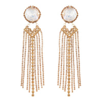 Large Glass Stone With Gold Diamante Tassels Earring
