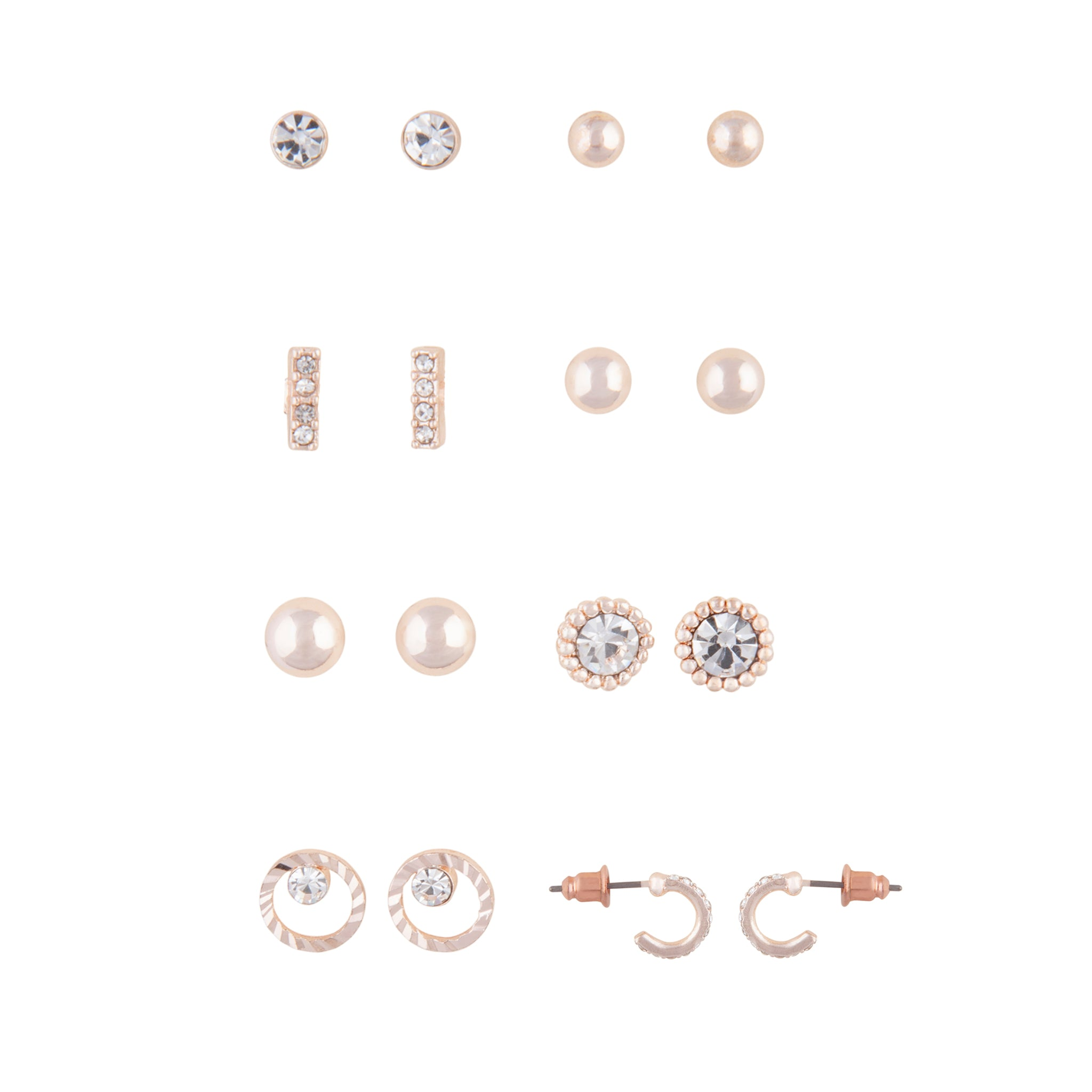 Rose Gold 8 Pack Stud Earrings