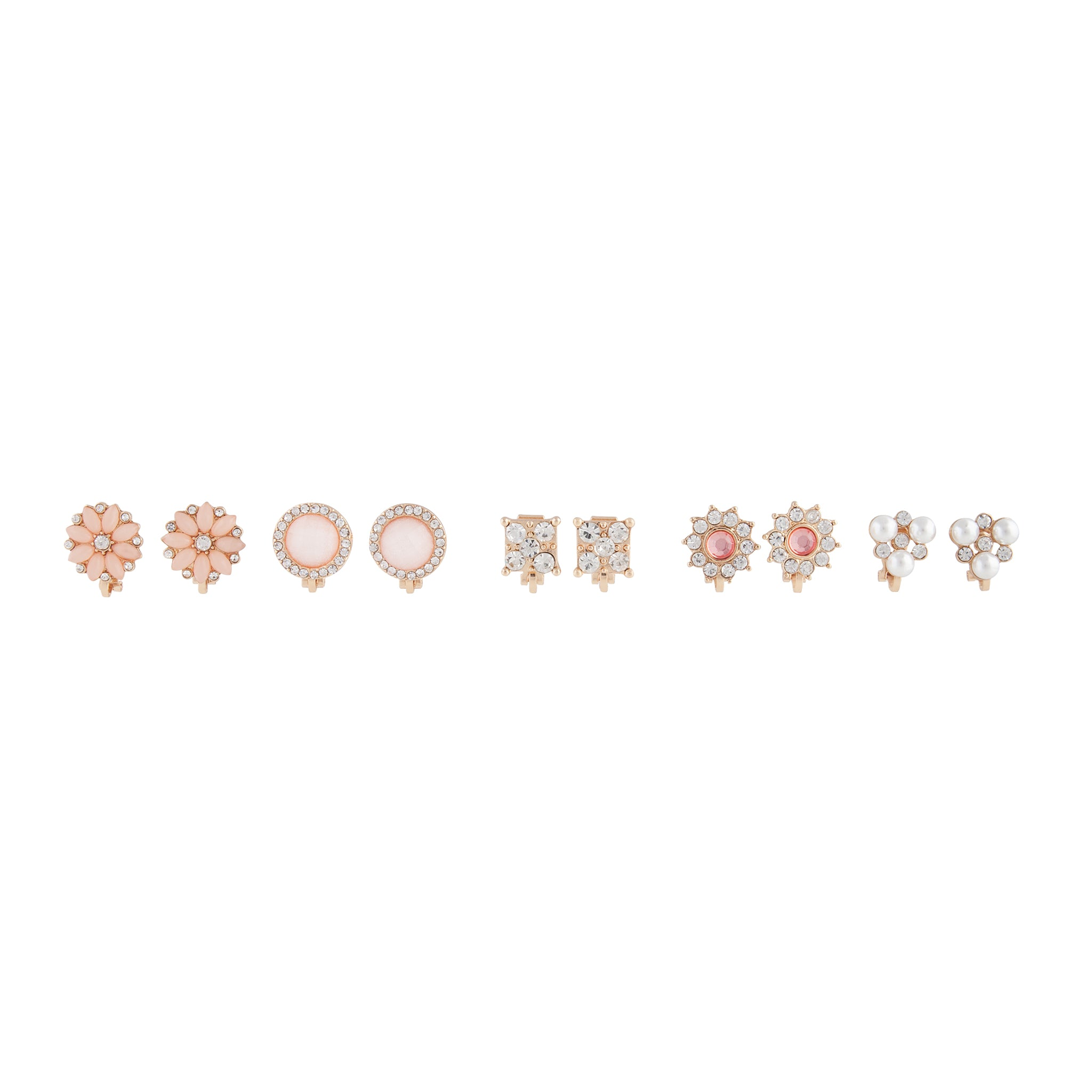 Pink Gold Floral Clip On Earring 5 Pack