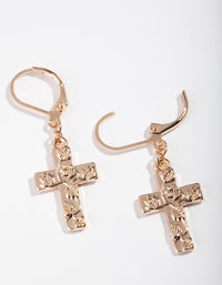 Gold Embossed Cross Earring - link has visual effect only