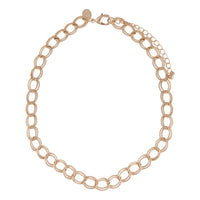 Gold Wide Link Chain Collar Necklace - link has visual effect only