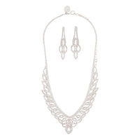 Silver Diamante Cup Chain Drop Earring Necklace Set