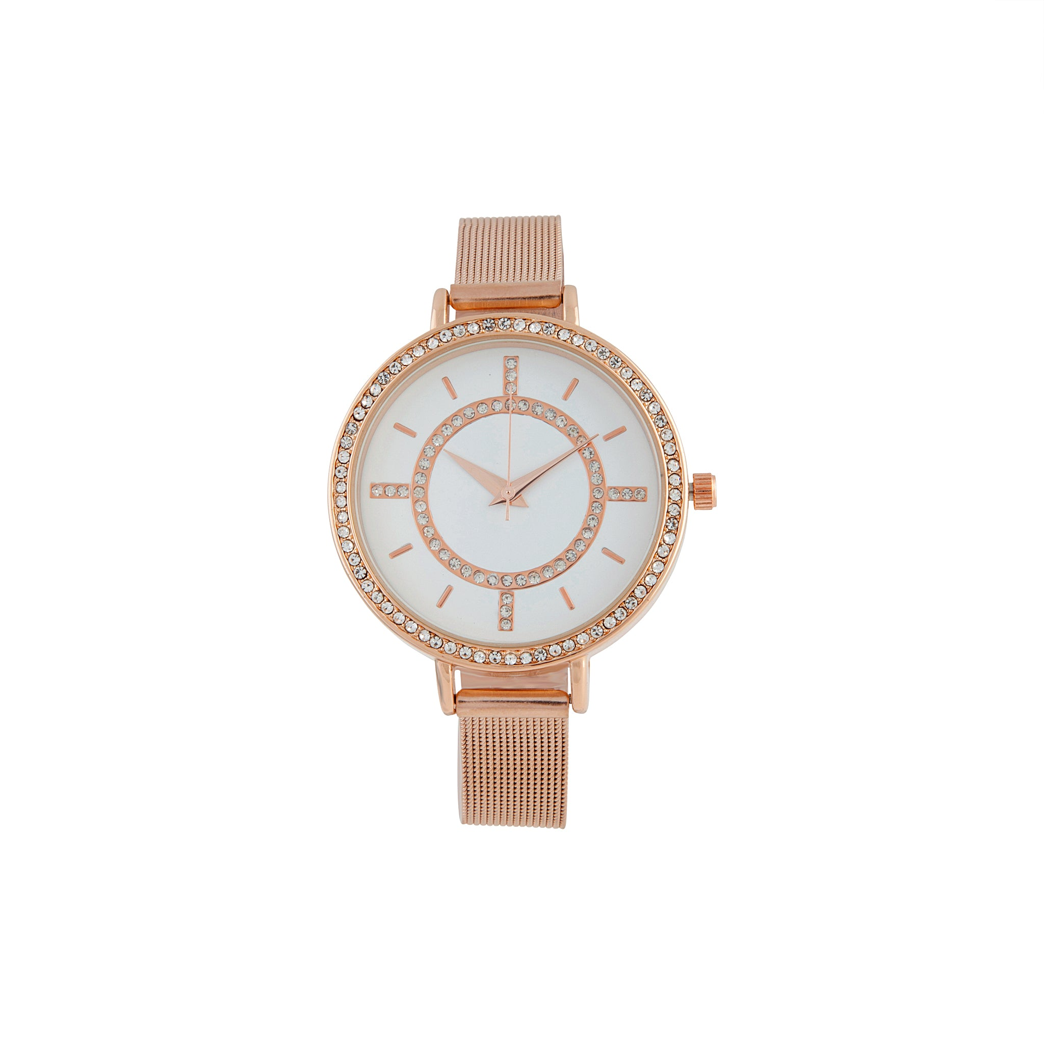 Rose Gold Thin Mesh Diamante Watch
