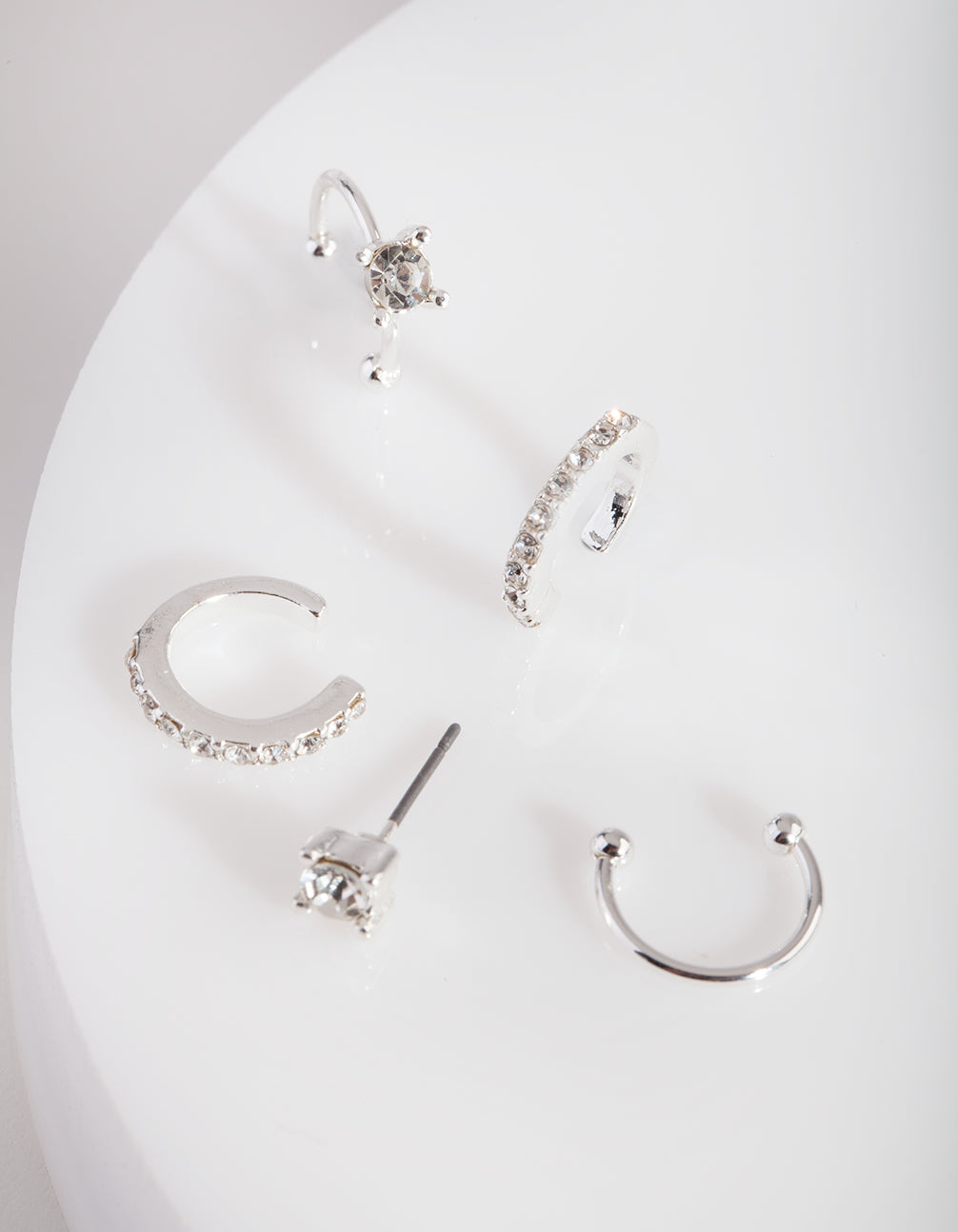Silver Classic Diamante Ear Stack