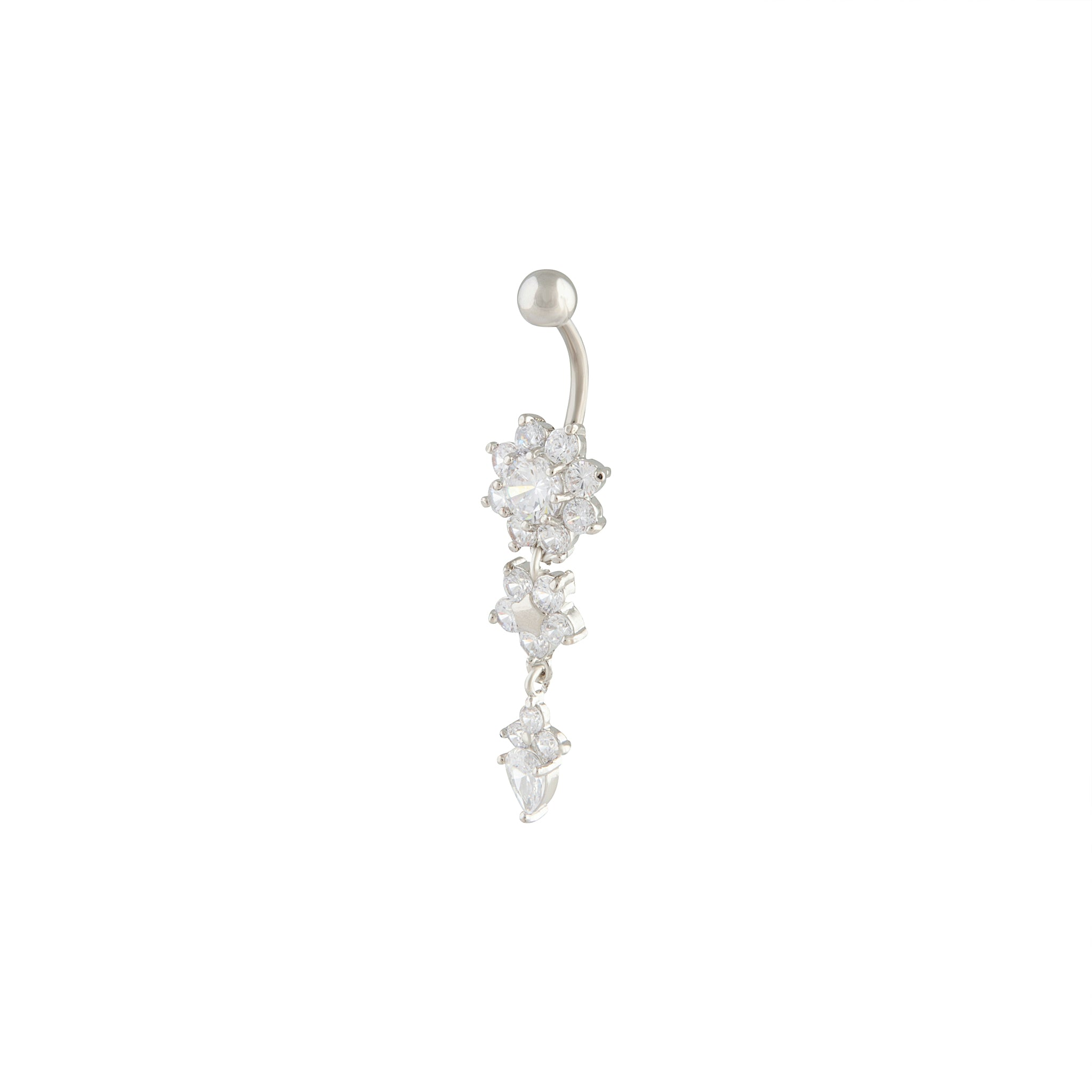 Cubic Zirconia Flower Drop Belly Bar