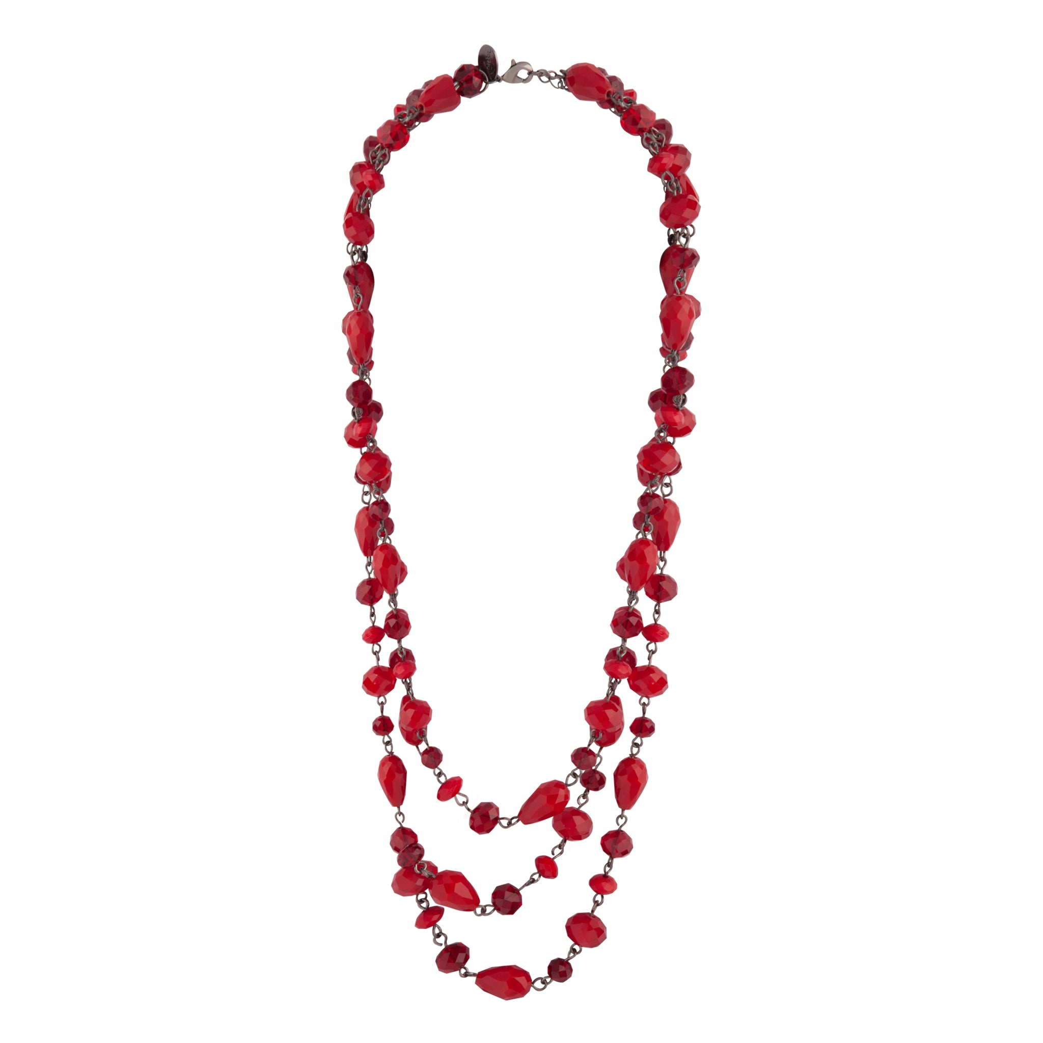 Red Gunmetal Triple Row Mixed Bead Necklace