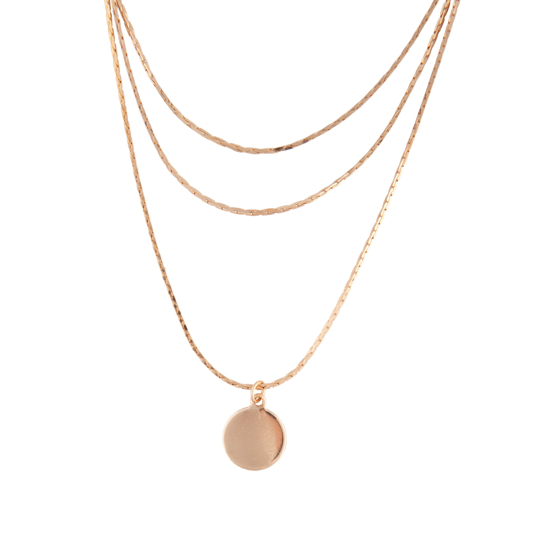 Gold 3 Row Smooth Disc Necklace