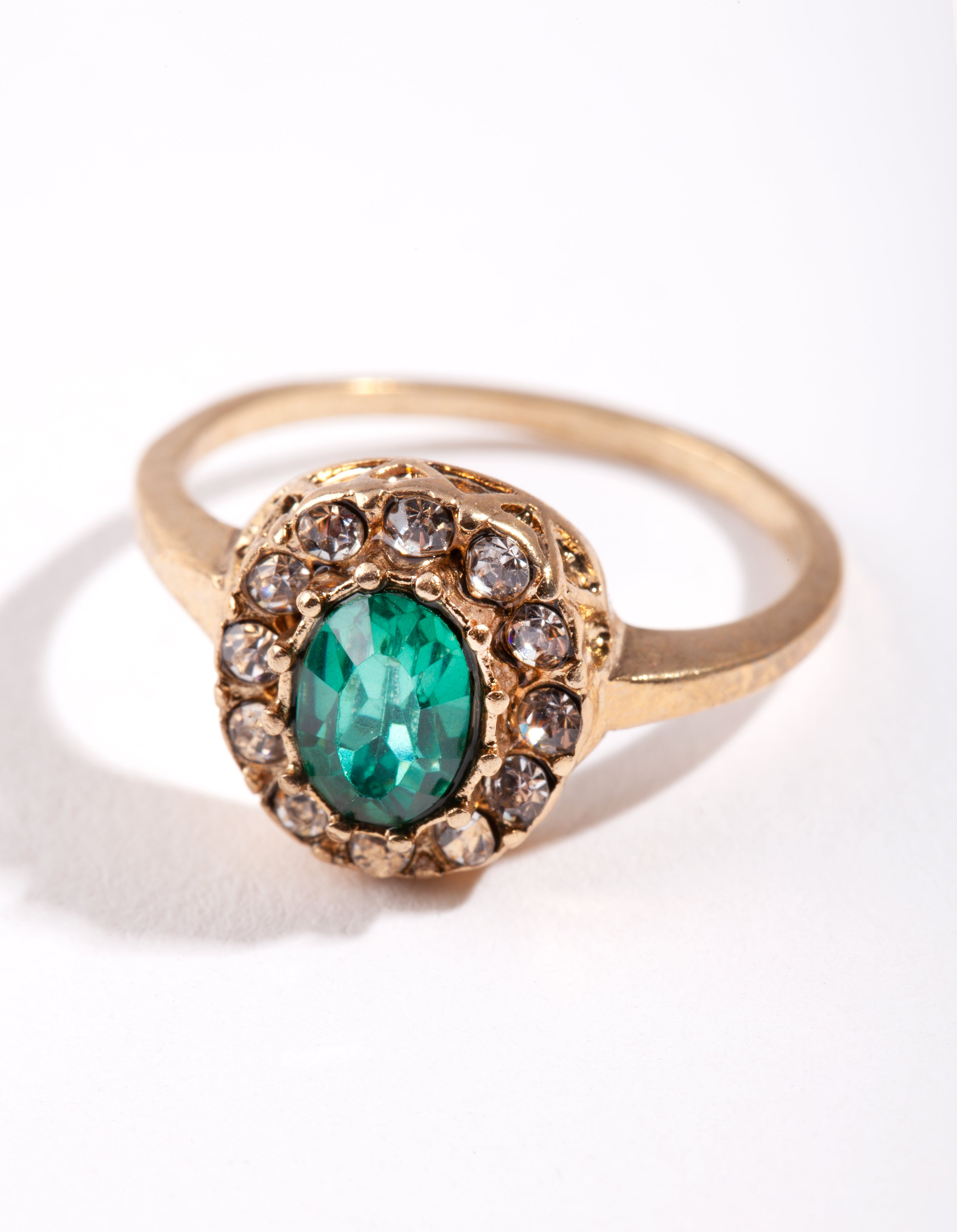 Gold Green Oval Engagement Ring