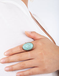 Gold Turquoise  Oval Claw Set Ring - link has visual effect only
