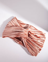 Pink Velvet Pleated Headband