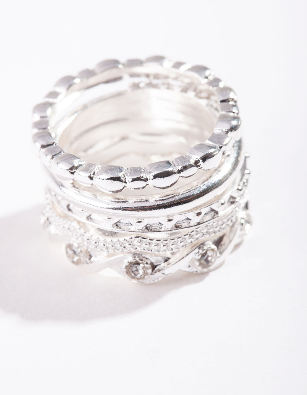 Silver Diamante 5 Stack Ring