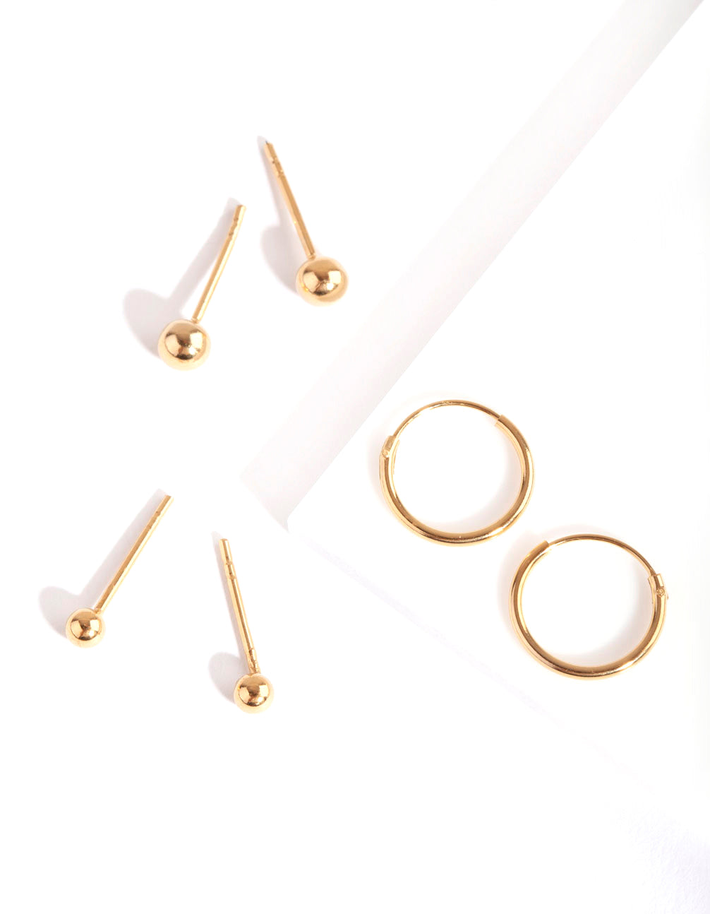 Gold Plated Sterling Silver Mini Studs & Hoop Earring Pack