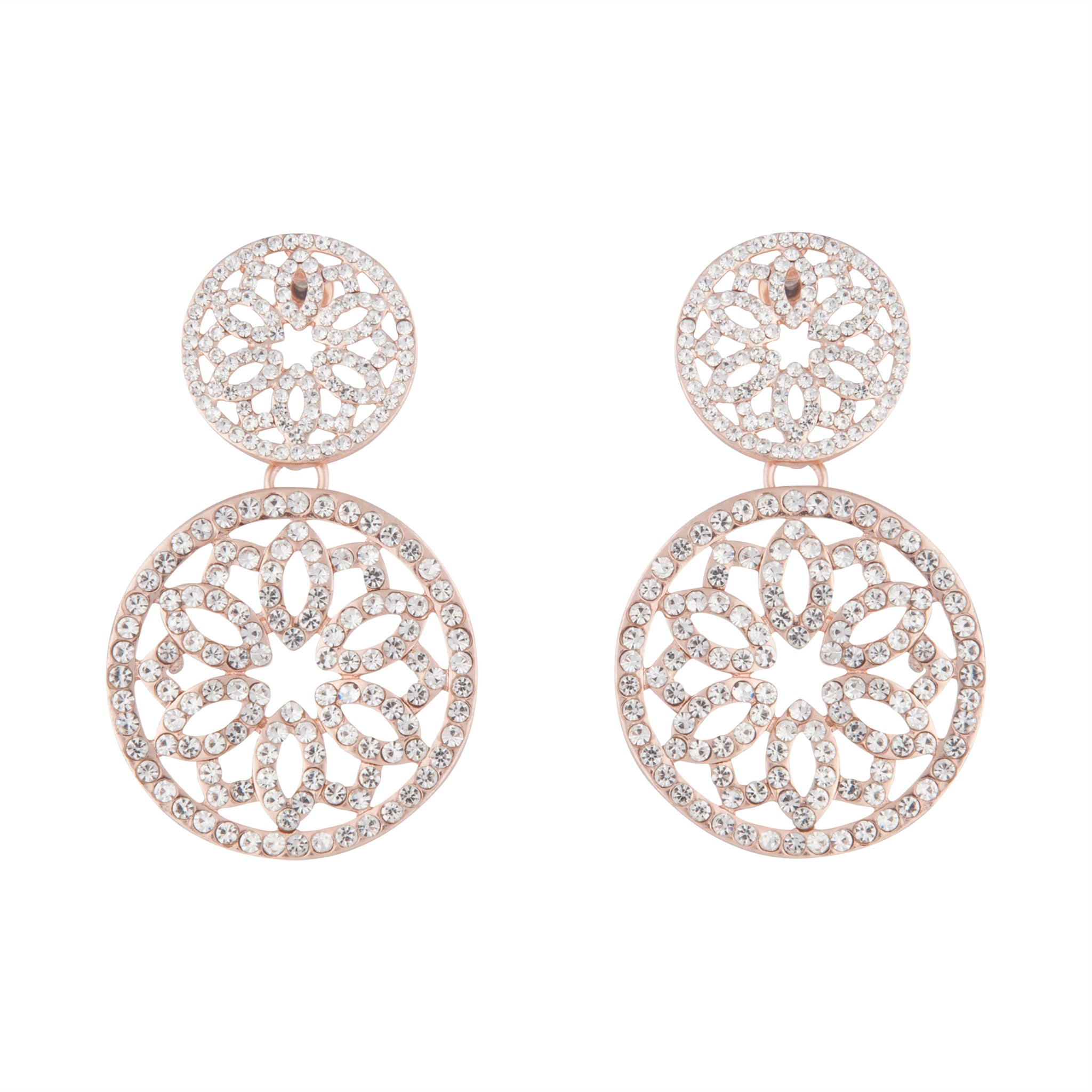 Rose Gold Diamante Filigree Double Circle Drop Earring